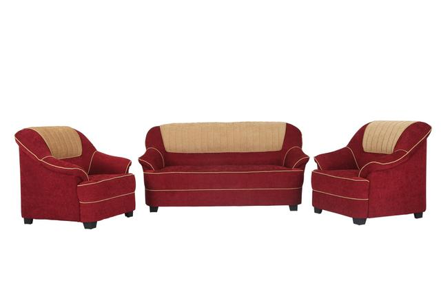 Cochin 3+1+1 Fabric Sofa Set in Maroon-Camel