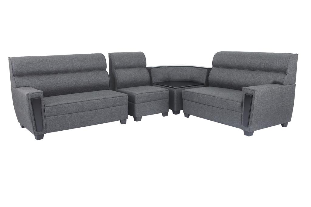 Ceylon Sectional Corner Fabric Sofa in Dark Grey