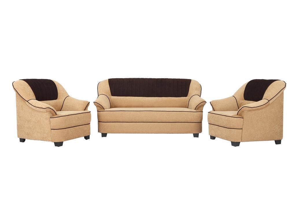 Cochin 3+1+1 Fabric Sofa Set in Cream-Brown