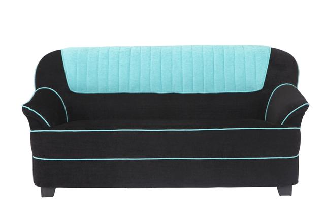 Cochin 3 Seater Fabric Sofa  in Cyan-Black