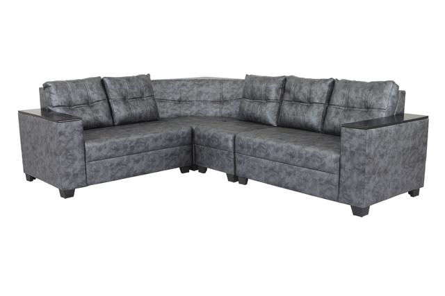 Dazzle Sectional Corner Leatherette Sofa in Grey