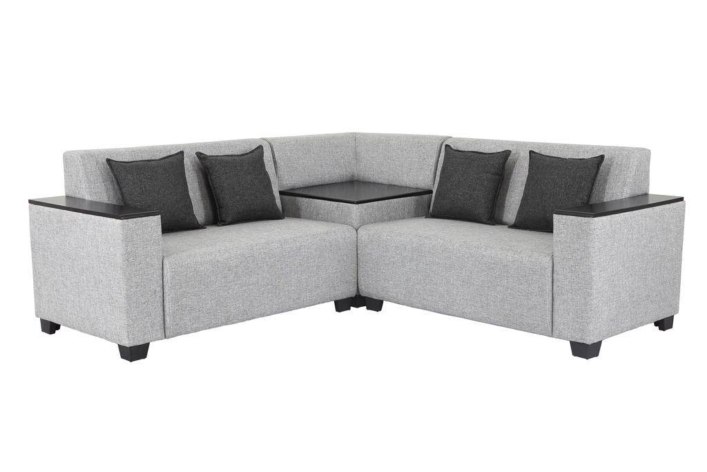Singapore Corner Fabric Sofa in Light Grey