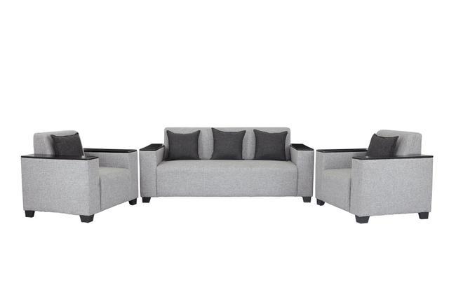 Singapore 3+1+1 Fabric Sofa Set in Light Grey