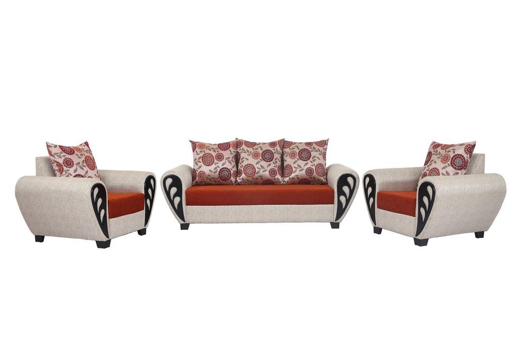 Gallaxy Passion 3+1+1 Fabric Sofa Set in Cream Orange