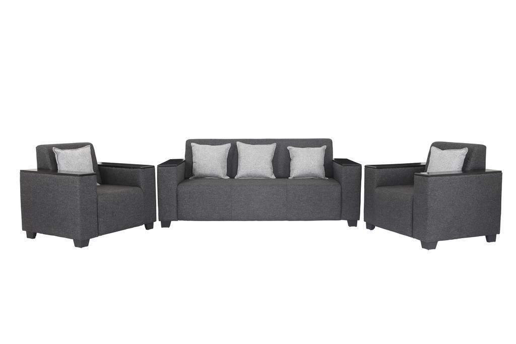 Singapore 3+1+1 Fabric Sofa Set in Dark Grey
