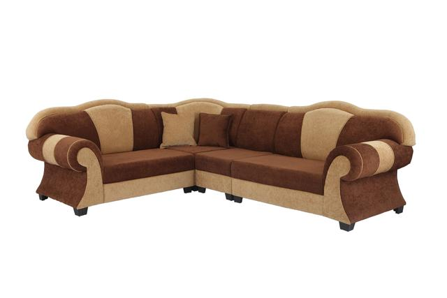 Dolphin Hummer Corner Fabric Sofa in Brown