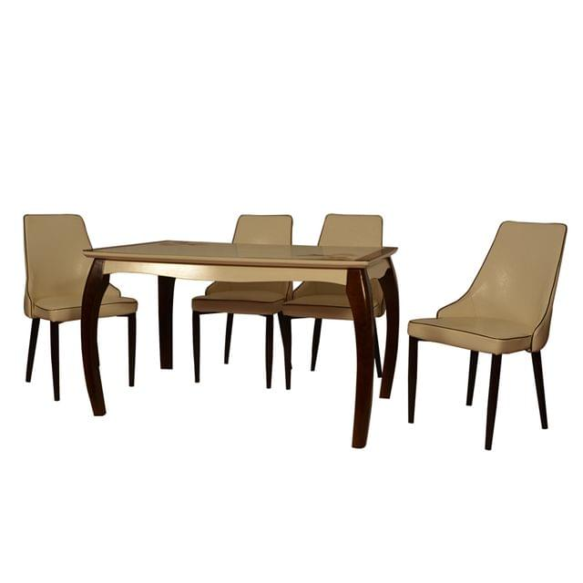 Alder 4 Seater Dining Table Solid Wood with Glass top in Teak Finish