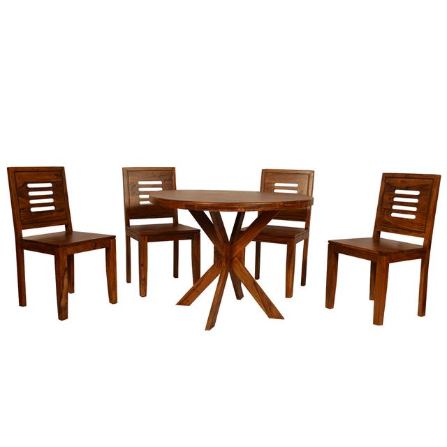 Sapphire 4 Seater Round Dining Table Solid Wood in Provincial Teak Finish