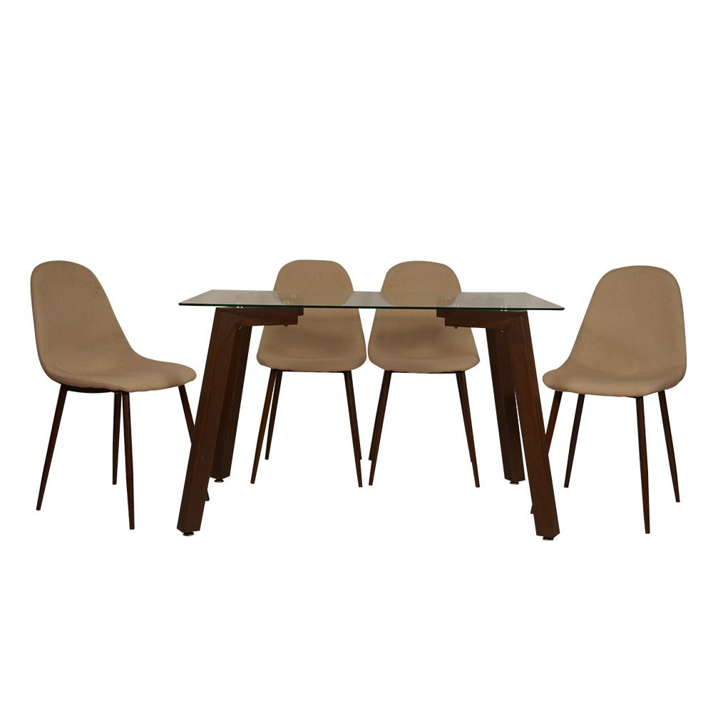 Fortuna 4 Seater Dining Table with Glass Top