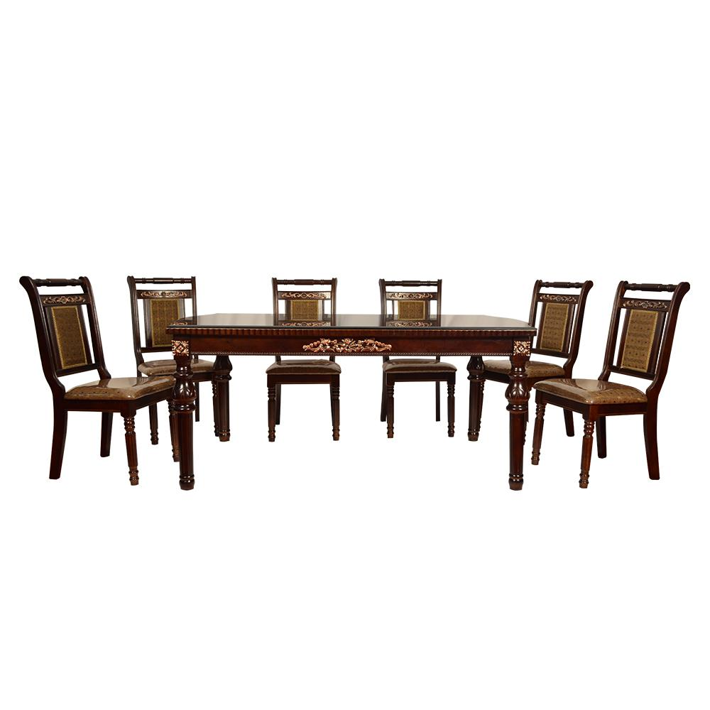 Winona 6 Seater Antique Style Dining Table  with Glass Top