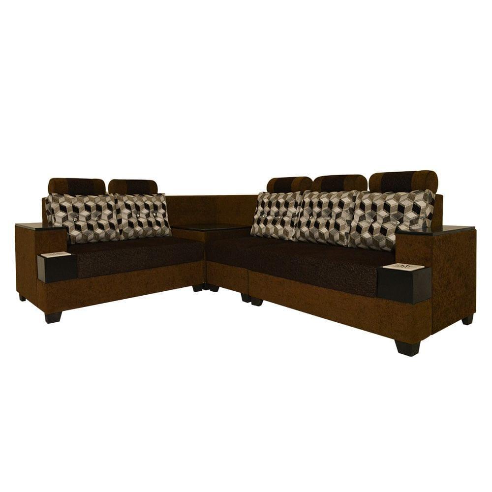 Safari Corner Fabric Sofa in Brown
