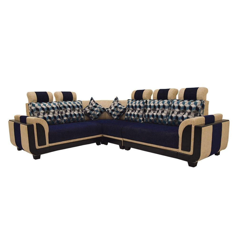 Alfa Corner Fabric Sofa in Beige Blue