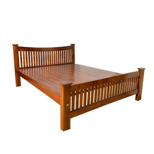 Window Solid Teak wood Queen Bed in Honey Teak Finish