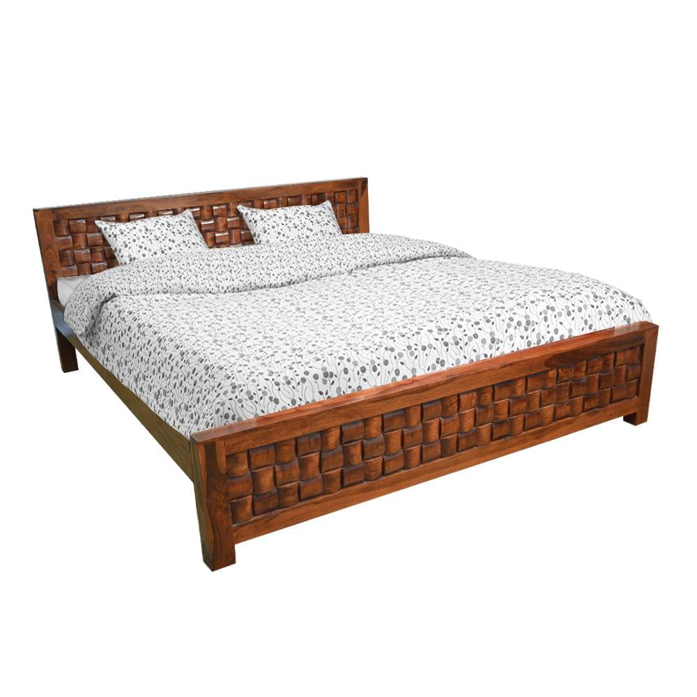 Nivaar Solidwood King Bed in Honey Teak Finish