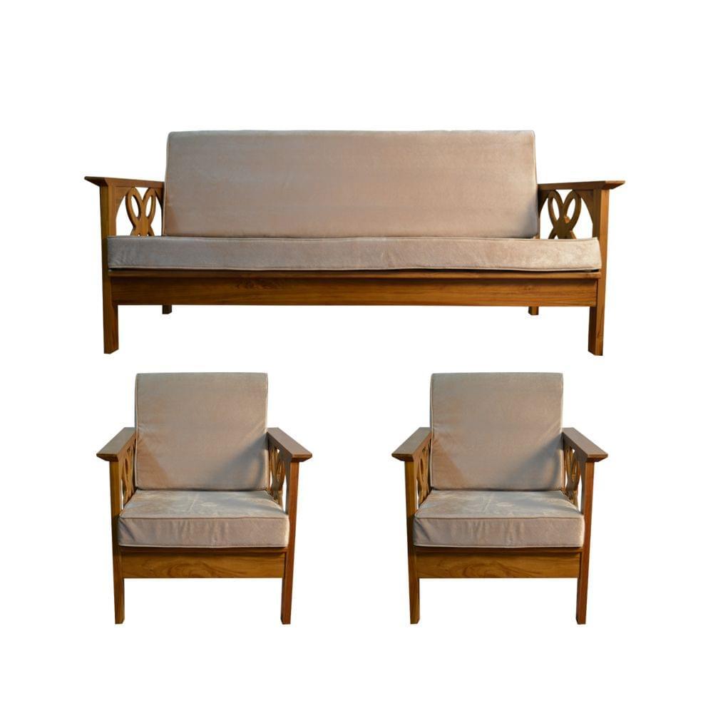 Clifford 3+1+1 Indonesian Teak Wooden Sofa Set