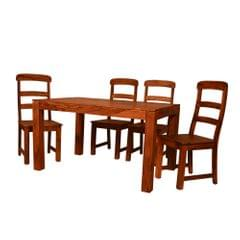 Olark 4 Seater Solid Wood Dining Table in Natural Teak Finish