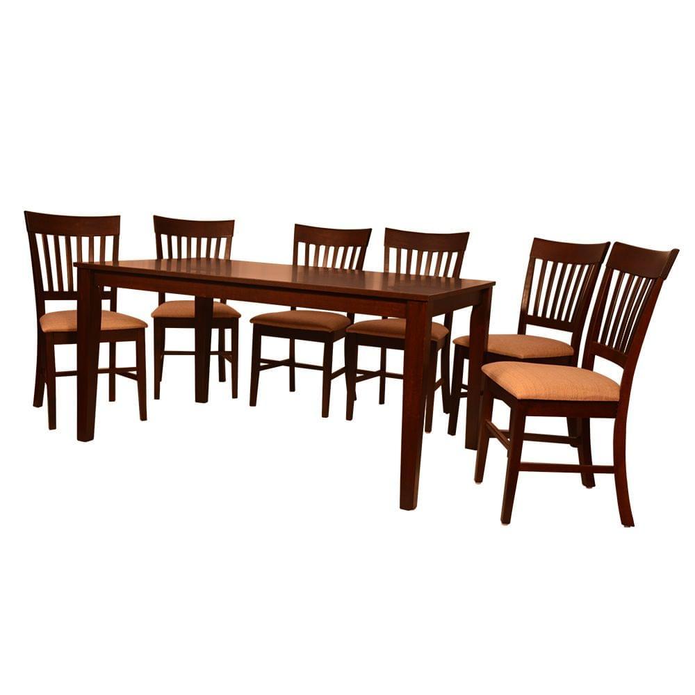 Monaco 6 Seater Solid Wood Dining Table in Dark Walnut Finish