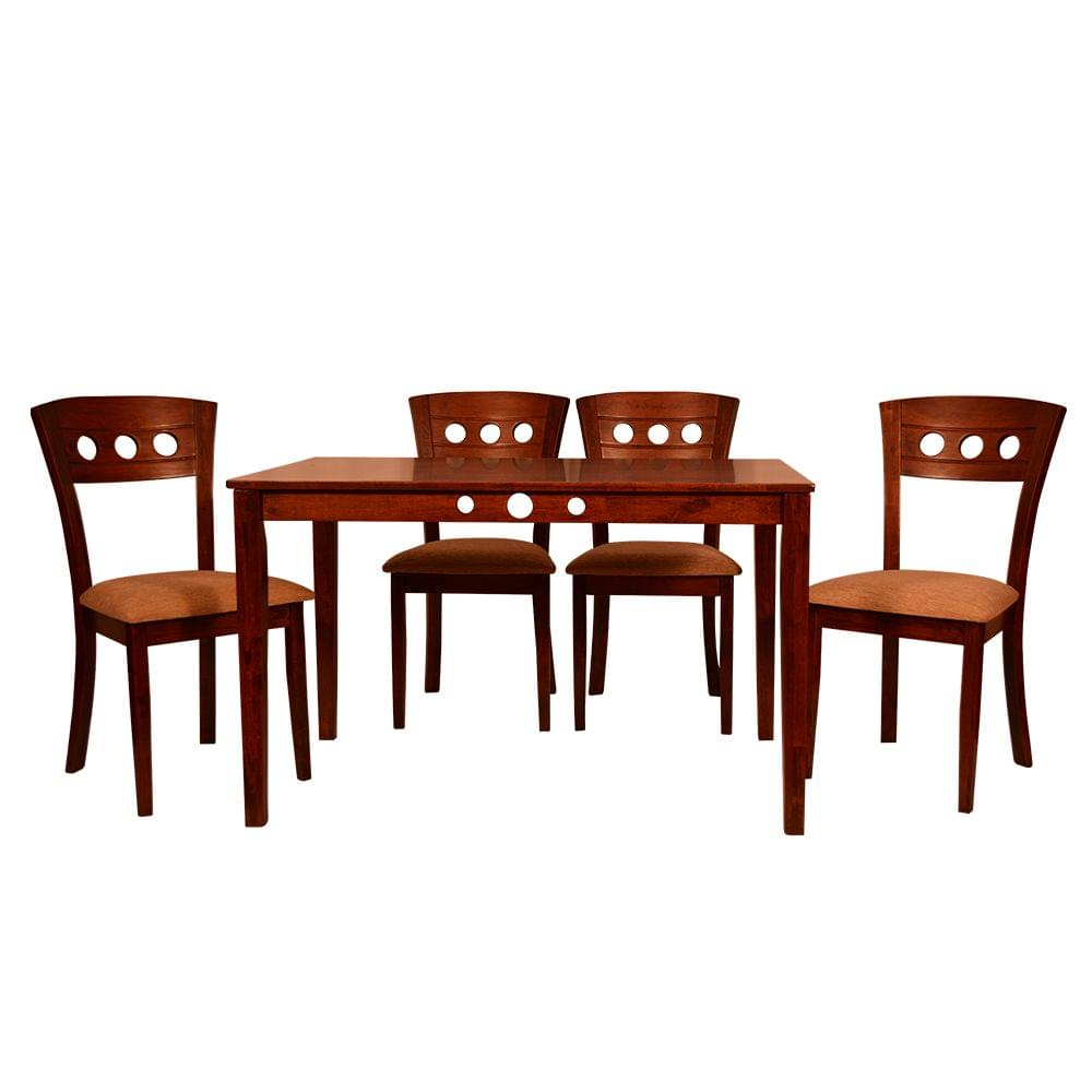 Liana 4 Seater Solid Wood Dining Table in Walnut Finish