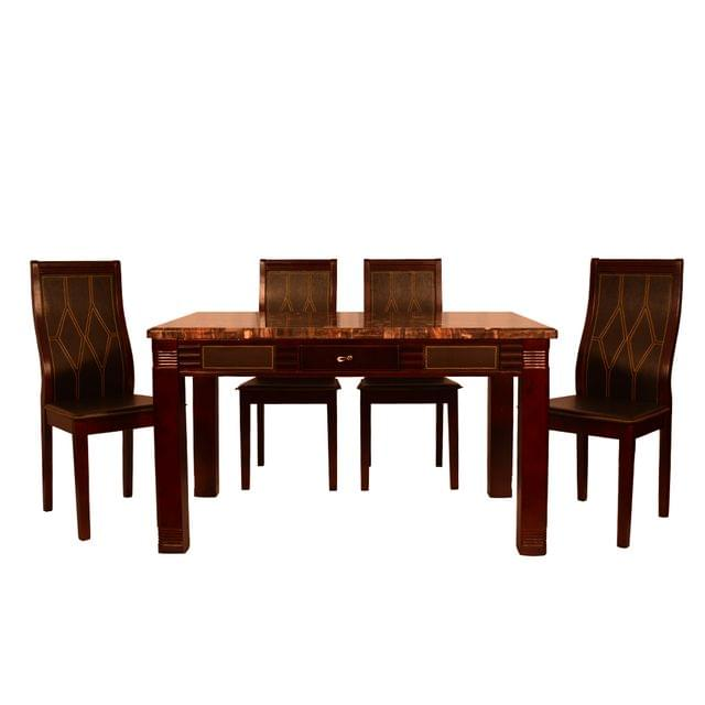 Amritsar 4 Seater Marble Top Dining Table in Walnut Finish