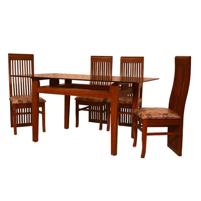 Lucknow 4 Seater Glass Top Teak Dining Table in Teak Finish