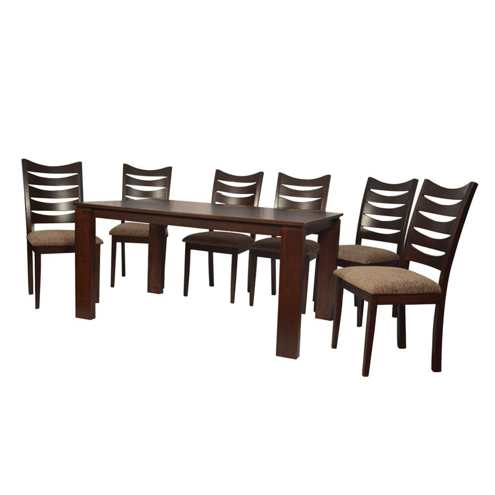 Iris 6 Seater Solid Wood Dining Table in Ebony Finish