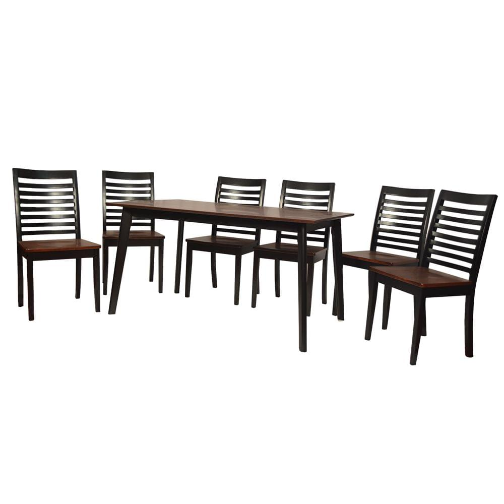 Leicester 6 Seater Solid Wood Dining Table in Ebony Finish