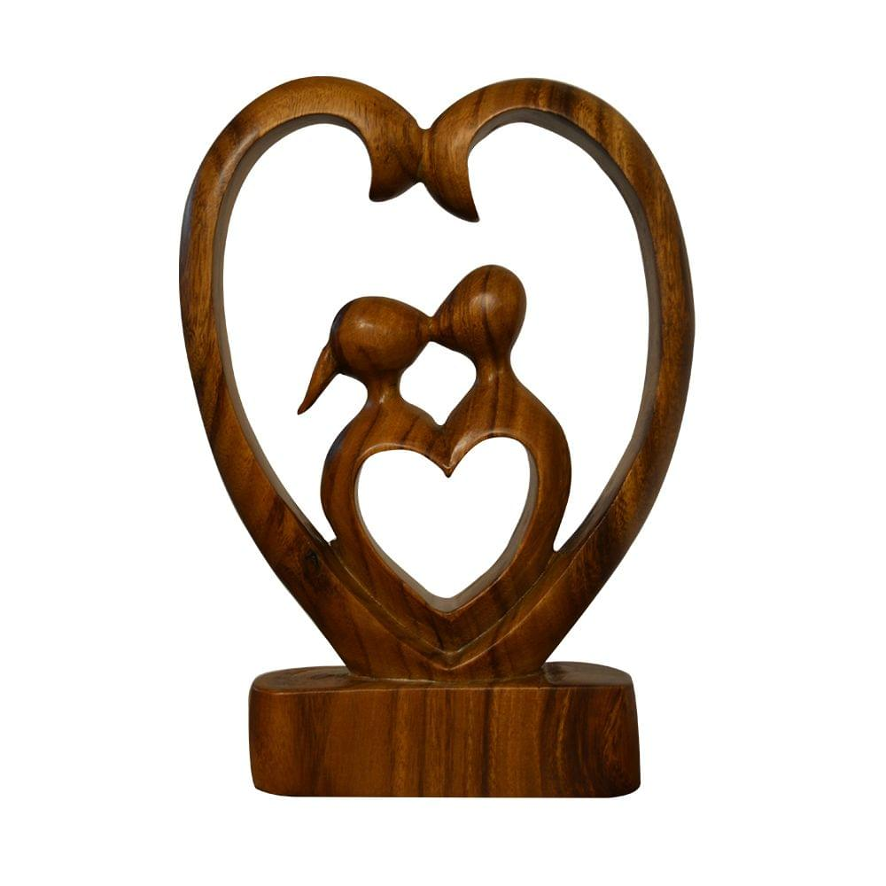 Heart to Heart Couple Abstract Hand Carved Wooden Statue
