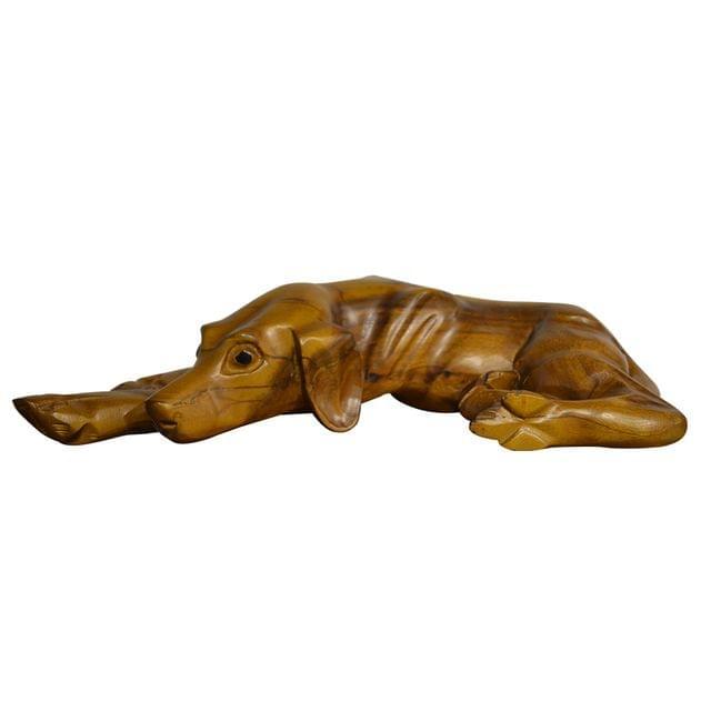 Pet Dog Natural Hand Carved Wooden Statue