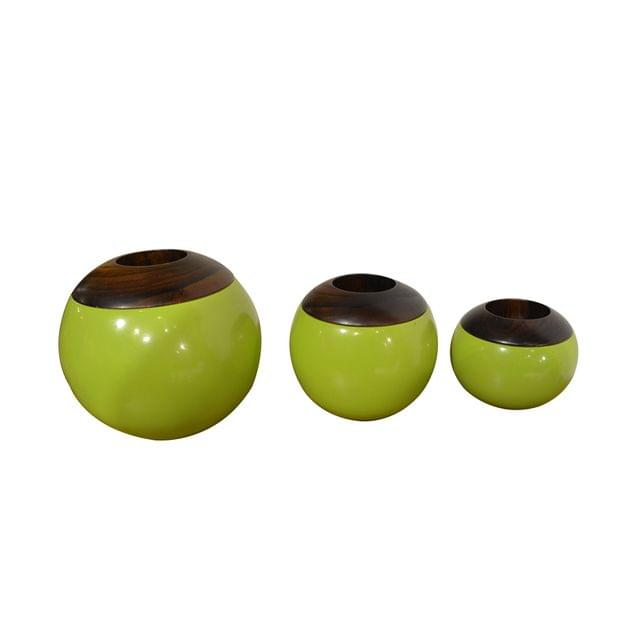 Porcelain Wooden Top Bowls (Set of 3)