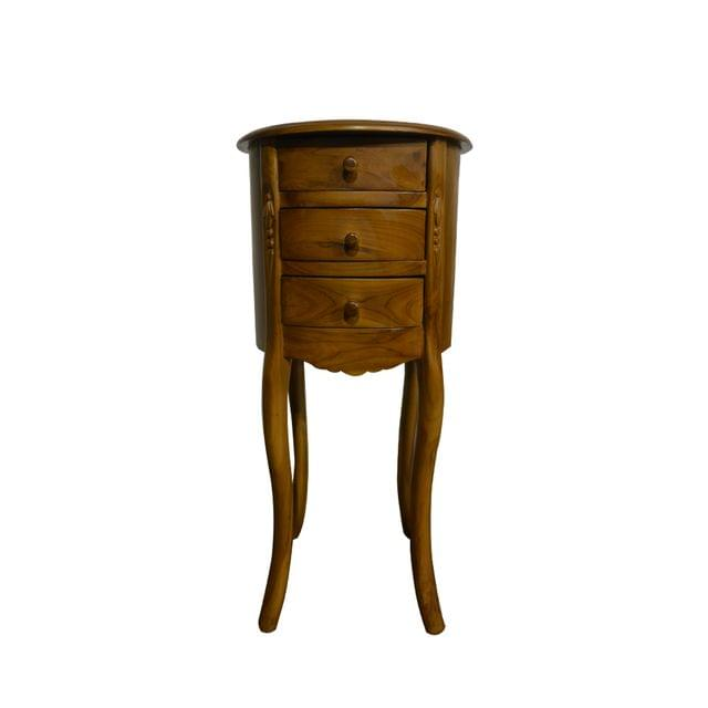 Woodway End Table Handcrafted Teak - (Round Top)