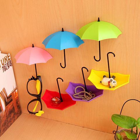 3Pcs Cute Colourful Umbrella shape Hook Hair Pin Key Holder