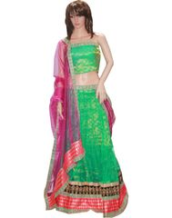Owomaniya Traditional Green Net Lehenga Choli And Dupatta Set
