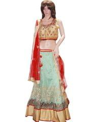 Owomaniya Traditional Light Green Net Stitched Lehenga Choli And Dupatta Set