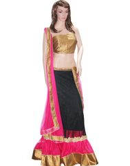Owomaniya Traditional Black And Pink Net Lehenga Choli And Dupatta Set