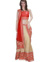 Owomaniya Traditional Red Crepe Lehenga Choli And Dupatta Set