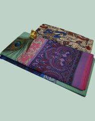 Owomaniya Multicolored Cotton Saree With Printed Kalamkari Blouse