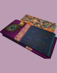 Owomaniya Violet Multicolored Cotton Saree With Printed Kalamkari Blouse