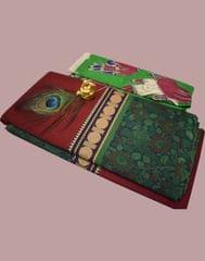 Owomaniya Maroon Multicolored Cotton Saree With Printed Kalamkari Blouse
