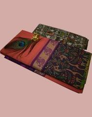 Owomaniya Peach Multicolored Cotton Saree With Printed Kalamkari Blouse