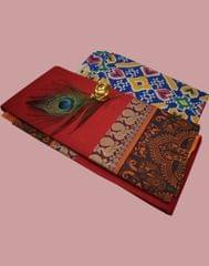 Owomaniya Red Multicolored Cotton Saree With Printed Kalamkari Blouse