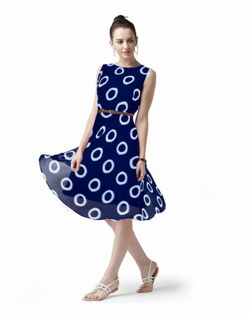 Owomaniya  Blue Printed Georgette Western Dress