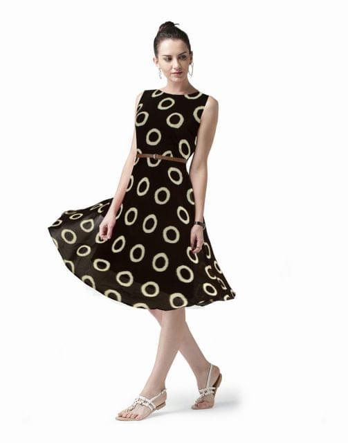 Owomaniya Printed Georgette Western Dress