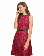Owomaniya  Red Crepe Western Dress