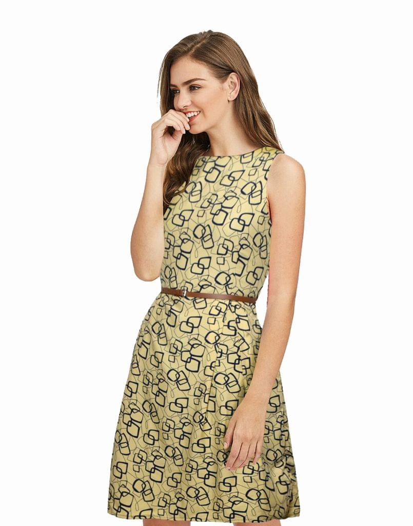 Owomaniya  Yellow Crepe Western Dress