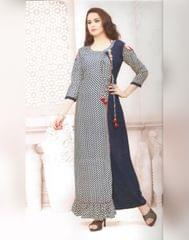 Owomaniya Blue Rayon Cotton Printed Kurti