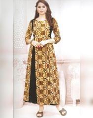 Owomaniya Black, Yellow Rayon Cotton Printed Kurti