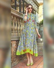 Owomaniya Green Multicolored Rayon Designer Kurti