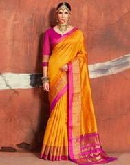 Owomaniya Yellow Handloom Silk Saree