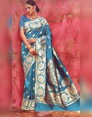 Owomaniya Blue Kumud Soft Silk Saree