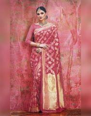 Owomaniya Pink Kumud Soft Silk Saree